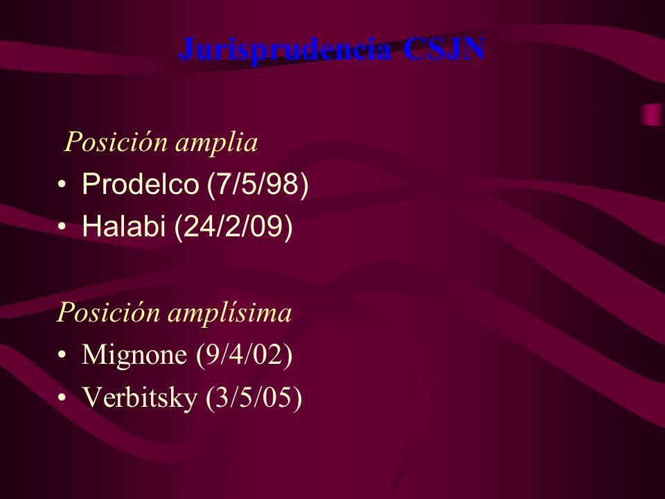 Jurisprudencia CSJN Posición amplia. Prodelco (7/5/98) Halabi (24/2/09) Posición amplísima Mignone (9/4/02) Verbitsky (3/5/05)