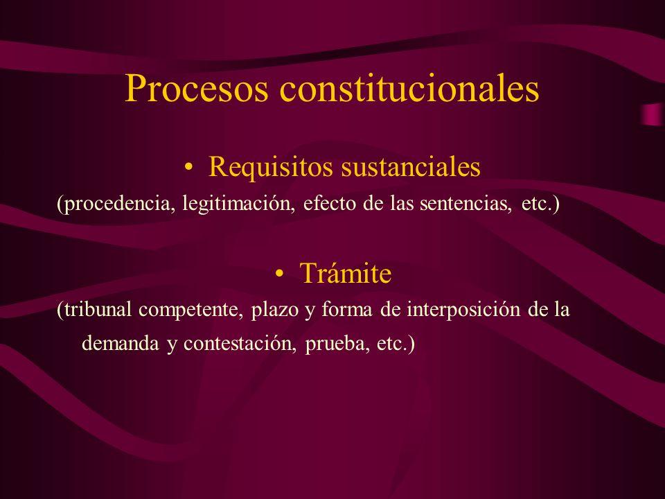 Requisitos sustanciales (procedencia, legitimación, efecto de las sentencias, etc.) Trámite (tribunal competente, plazo y forma de interposición de la