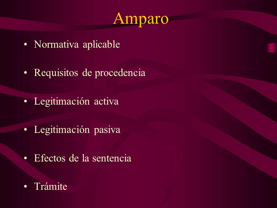 Amparo Normativa aplicable Requisitos de procedencia Legitimación activa Legitimación pasiva Efectos de la sentencia Trámite