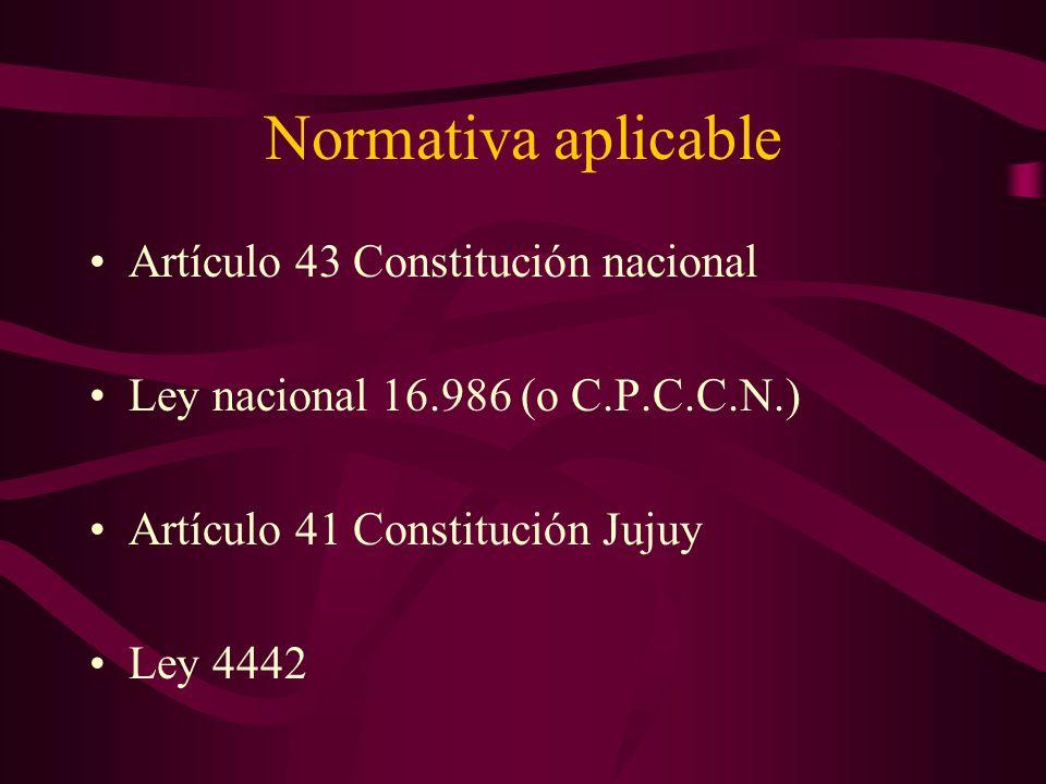 Normativa aplicable Artículo 43 Constitución nacional Ley nacional 16.986 (o C.P.C.C.N.) Artículo 41 Constitución Jujuy Ley 4442