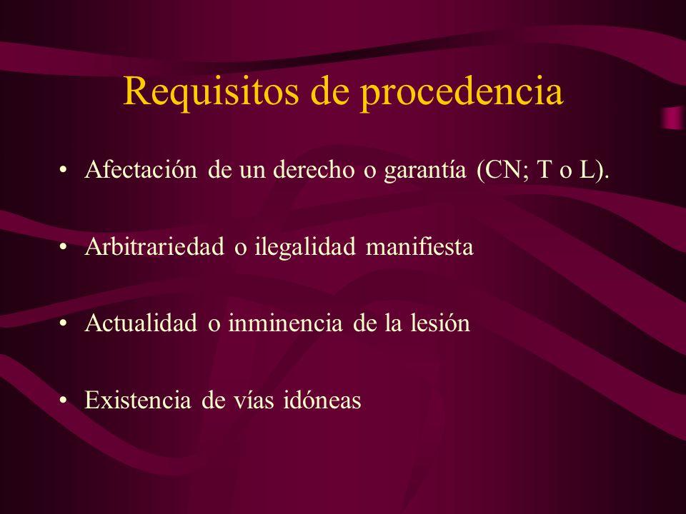 Requisitos de procedencia Afectación de un derecho o garantía (CN; T o L). Arbitrariedad o ilegalidad manifiesta Actualidad o inminencia de la lesión