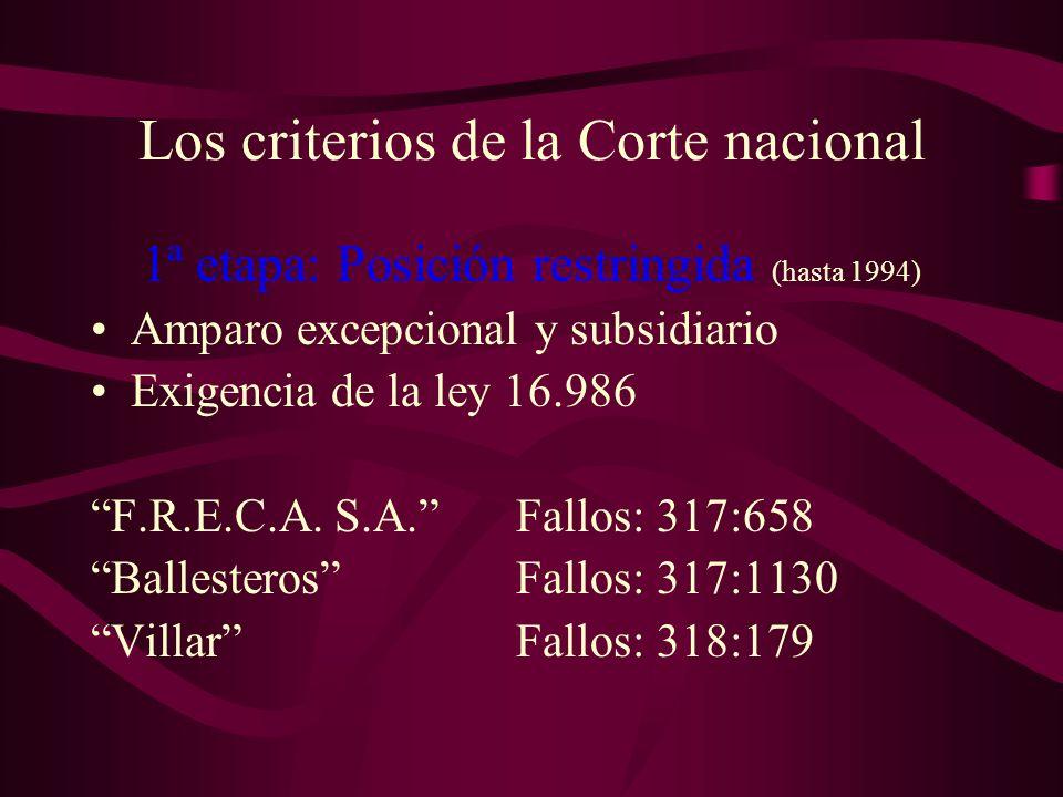 Los criterios de la Corte nacional 1ª etapa: Posición restringida (hasta 1994) Amparo excepcional y subsidiario Exigencia de la ley 16.986 F.R.E.C.A.