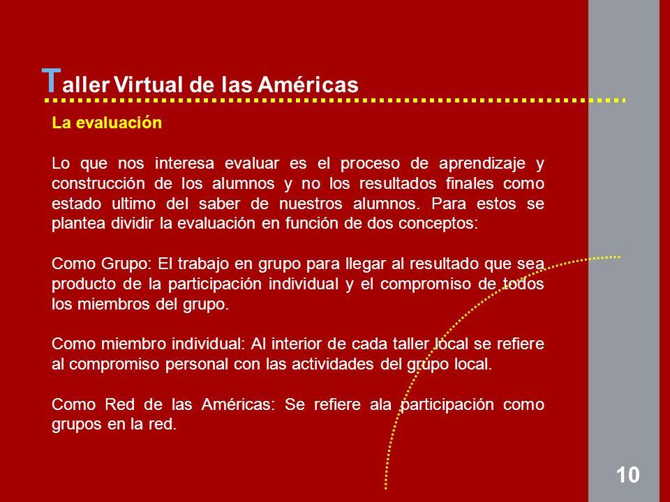 10 T aller Virtual de las Américas La evaluación Lo que nos interesa evaluar es el proceso de aprendizaje y construcción de los alumnos y no los resultados finales como estado ultimo del saber de nuestros alumnos.