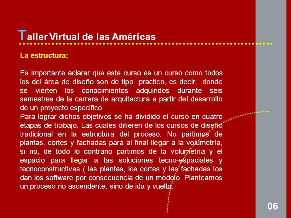 06 T aller Virtual de las Américas La estructura: Es importante aclarar que este curso es un curso como todos los del área de diseño son de tipo practico, es decir, donde se vierten los conocimientos adquiridos durante seis semestres de la carrera de arquitectura a partir del desarrollo de un proyecto especifico.
