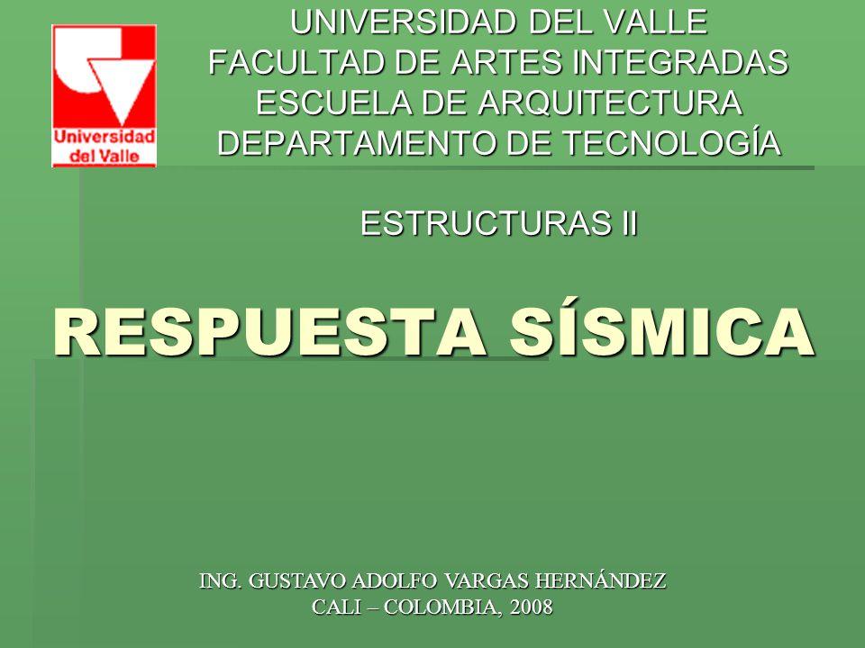 RESPUESTA SÍSMICA REFERENCIAS: Presentaciones Ing.