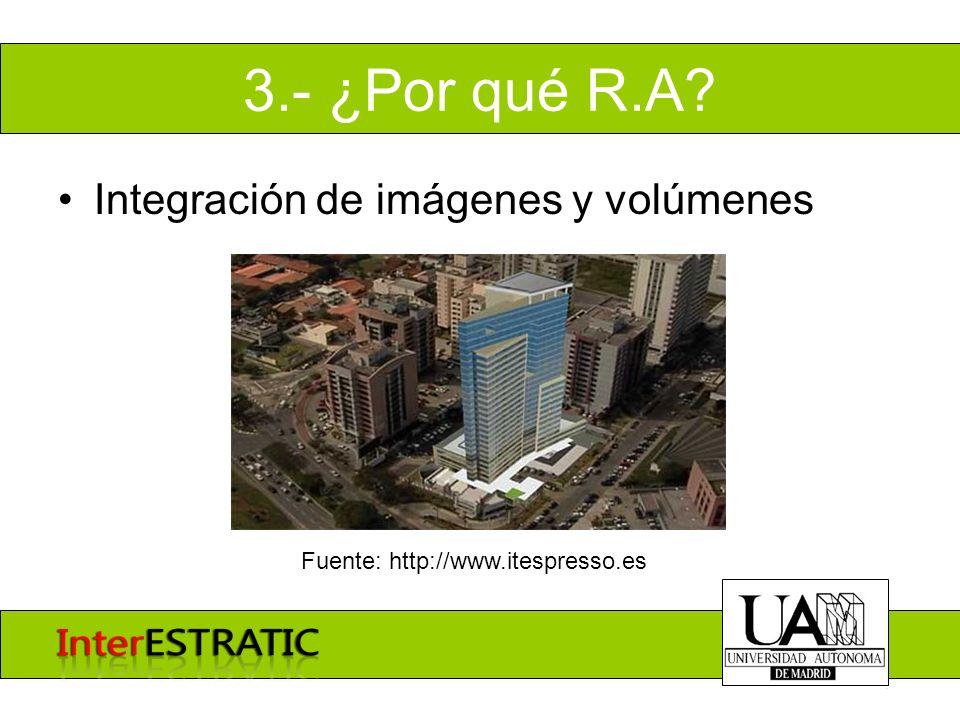 3.- ¿Por qué R.A? Integración de imágenes y volúmenes Fuente: http://www.itespresso.es