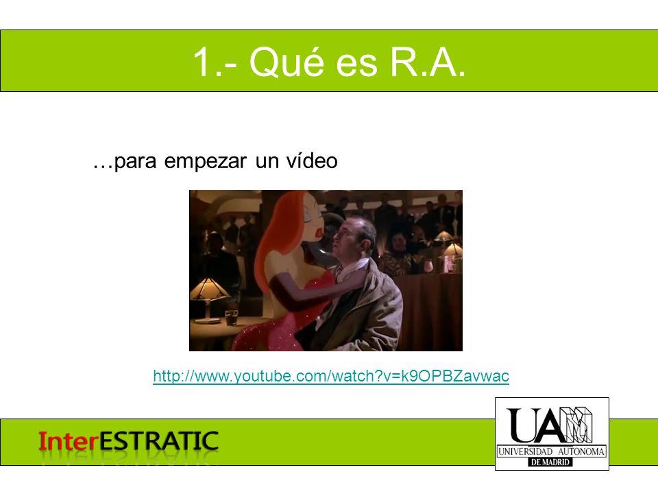 1.- Qué es R.A. …para empezar un vídeo http://www.youtube.com/watch?v=k9OPBZavwac