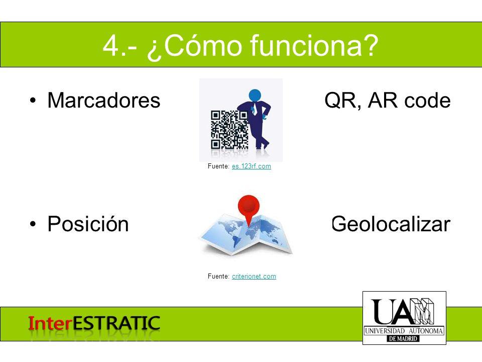 4.- ¿Cómo funciona? Marcadores QR, AR code Posición Geolocalizar Fuente: es.123rf.comes.123rf.com Fuente: criterionet.comcriterionet.com