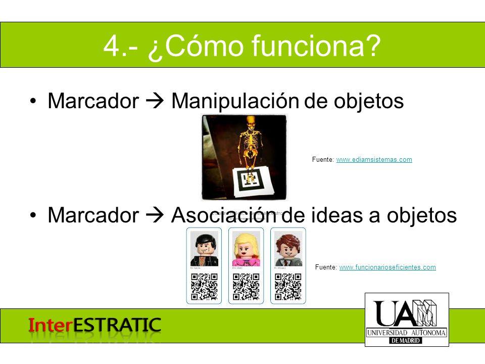 4.- ¿Cómo funciona? Marcador Manipulación de objetos Marcador Asociación de ideas a objetos Fuente: www.funcionarioseficientes.comwww.funcionariosefic
