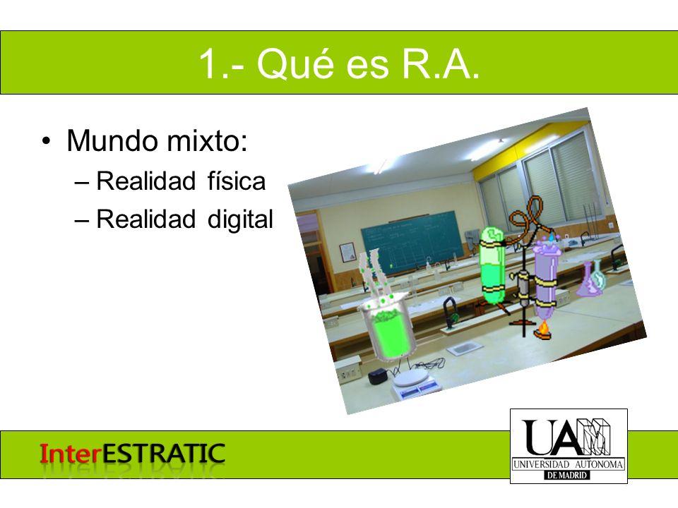 1.- Qué es R.A. Mundo mixto: –Realidad física –Realidad digital