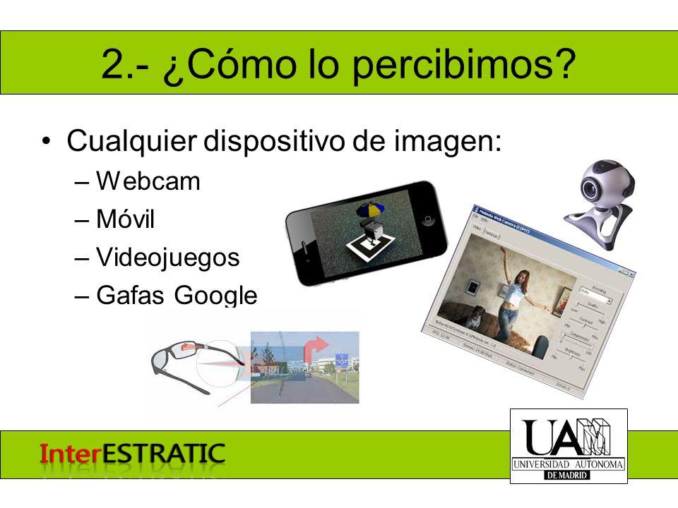 2.- ¿Cómo lo percibimos? Cualquier dispositivo de imagen: –Webcam –Móvil –Videojuegos –Gafas Google