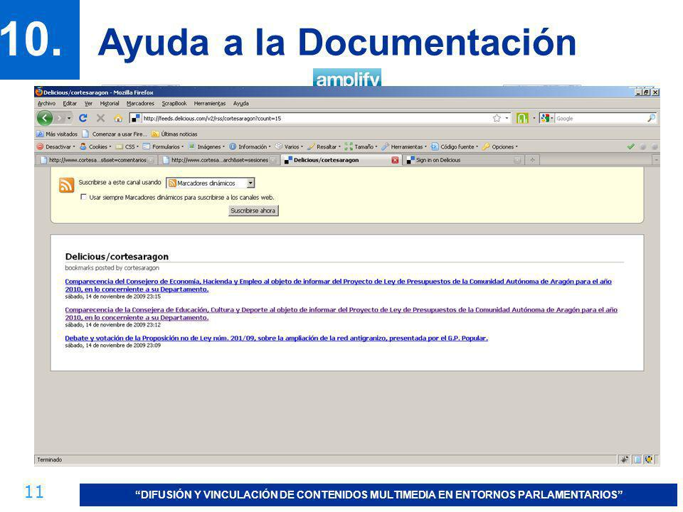 11 DIFUSIÓN Y VINCULACIÓN DE CONTENIDOS MULTIMEDIA EN ENTORNOS PARLAMENTARIOS 10. Ayuda a la Documentación USUARIO + TAGS: http://feeds.delicious.com/