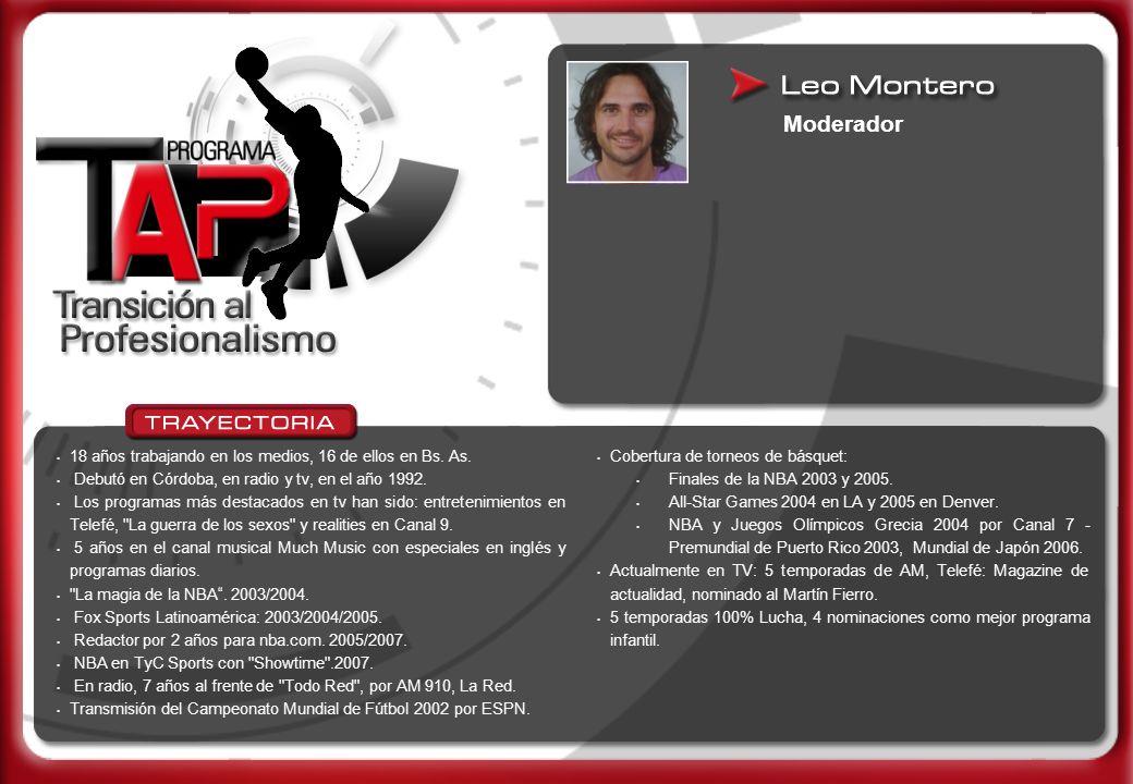Moderador 18 años trabajando en los medios, 16 de ellos en Bs. As. Debutó en Córdoba, en radio y tv, en el año 1992. Los programas más destacados en t
