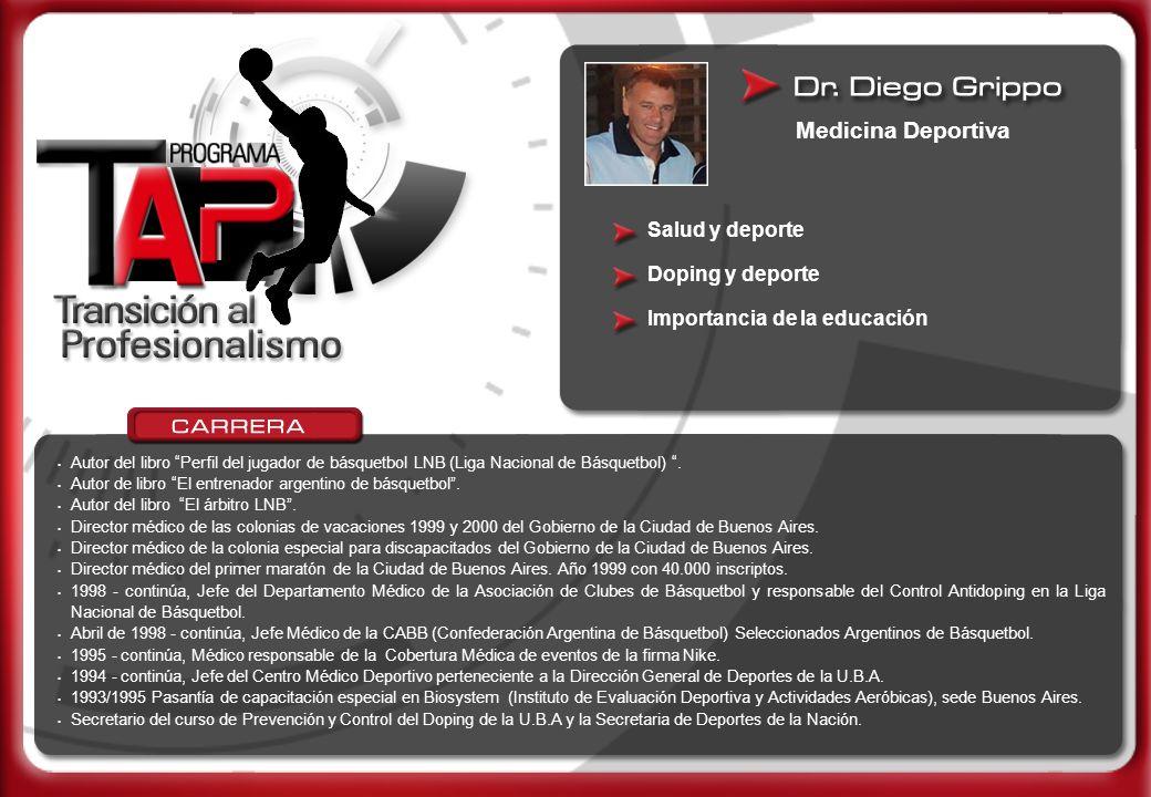 Autor del libro Perfil del jugador de básquetbol LNB (Liga Nacional de Básquetbol). Autor de libro El entrenador argentino de básquetbol. Autor del li