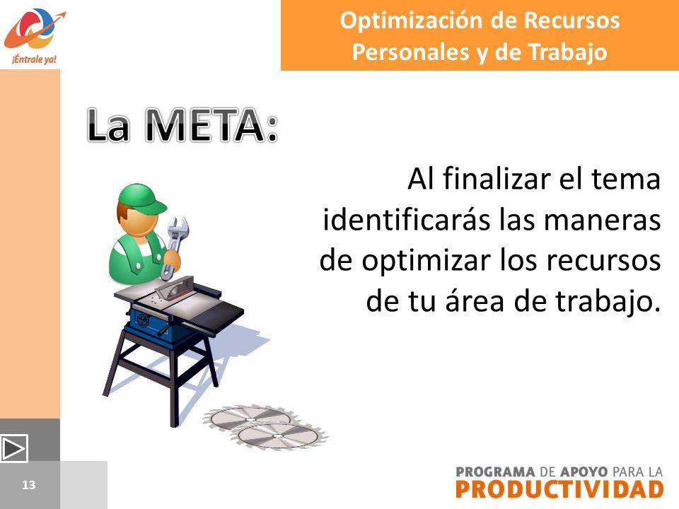 13 Al finalizar el tema identificarás las maneras de optimizar los recursos de tu área de trabajo. Optimización de Recursos Personales y de Trabajo