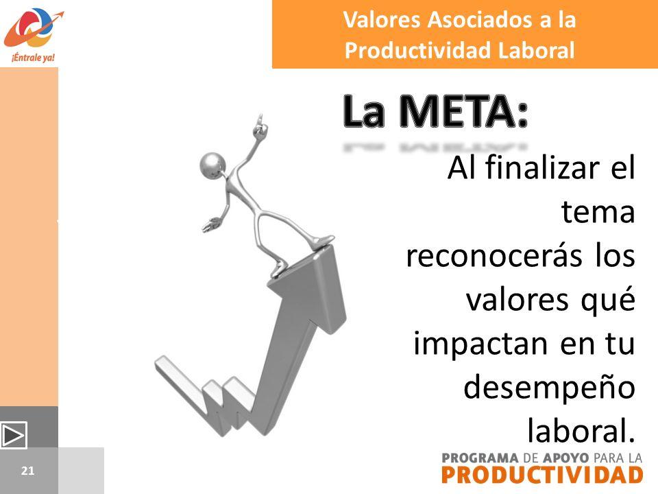 21 Valores Asociados a la Productividad Laboral Al finalizar el tema reconocerás los valores qué impactan en tu desempeño laboral.