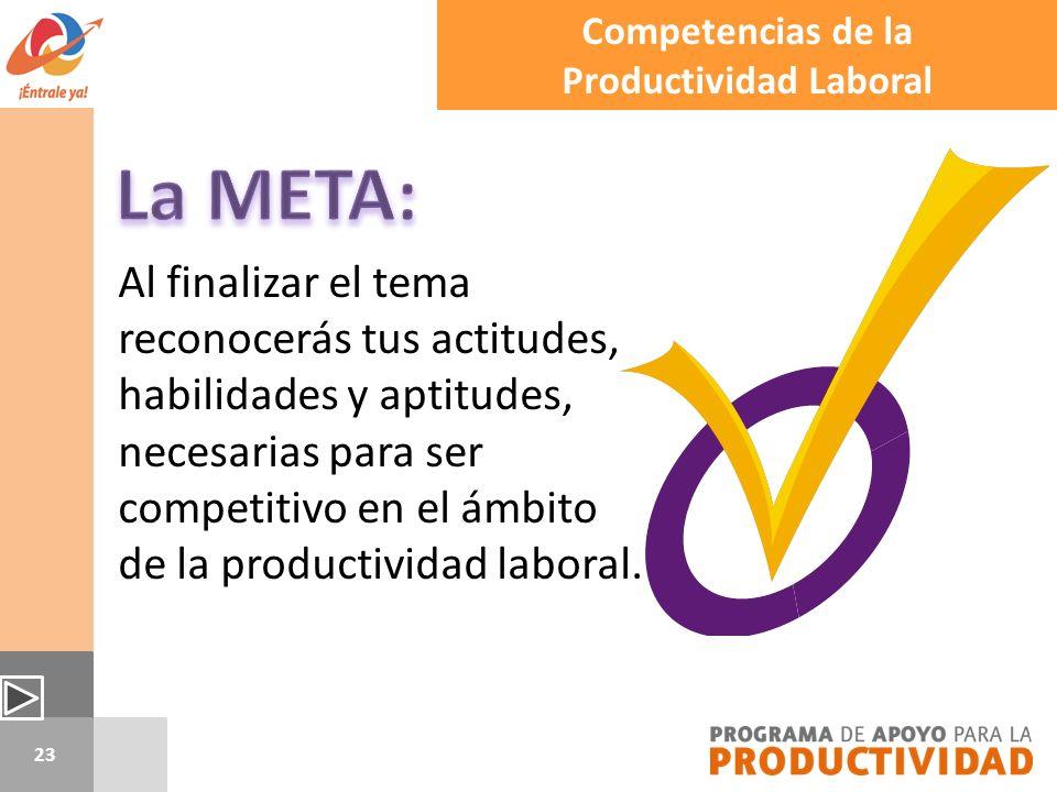23 Al finalizar el tema reconocerás tus actitudes, habilidades y aptitudes, necesarias para ser competitivo en el ámbito de la productividad laboral.