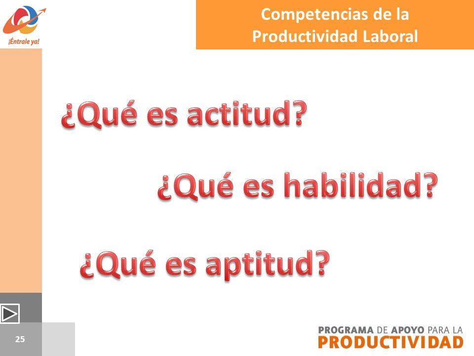25 Competencias de la Productividad Laboral