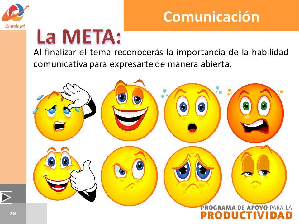 28 Al finalizar el tema reconocerás la importancia de la habilidad comunicativa para expresarte de manera abierta. Comunicación