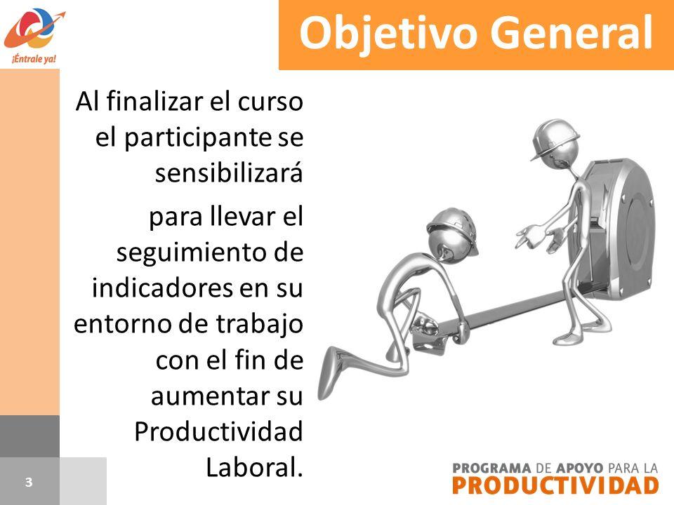 Objetivo General Al finalizar el curso el participante se sensibilizará para llevar el seguimiento de indicadores en su entorno de trabajo con el fin
