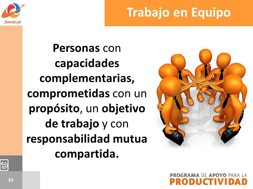 35 Trabajo en Equipo Personas con capacidades complementarias, comprometidas con un propósito, un objetivo de trabajo y con responsabilidad mutua comp