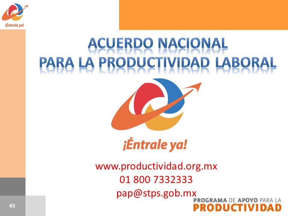 www.productividad.org.mx 01 800 7332333 pap@stps.gob.mx 45