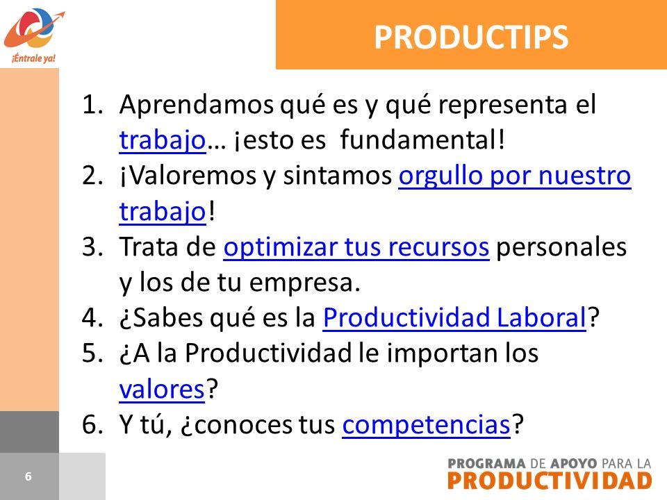 17 Al finalizar el tema comprenderás qué es y qué implica la Productividad Laboral en tu vida.