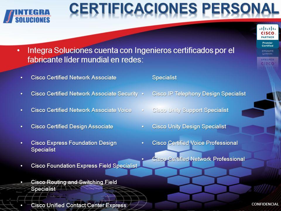 Integra Soluciones cuenta con Ingenieros certificados por el fabricante líder mundial en redes: Cisco Certified Network AssociateCisco Certified Netwo