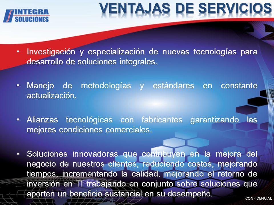 Investigación y especialización de nuevas tecnologías para desarrollo de soluciones integrales. Manejo de metodologías y estándares en constante actua