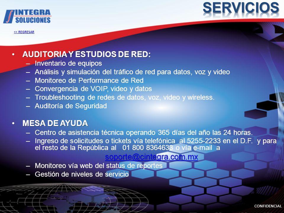 AUDITORIA Y ESTUDIOS DE RED:AUDITORIA Y ESTUDIOS DE RED: –Inventario de equipos –Análisis y simulación del tráfico de red para datos, voz y video –Mon