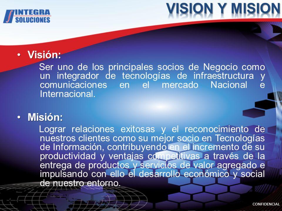 Visión:Visión: Ser uno de los principales socios de Negocio como un integrador de tecnologías de infraestructura y comunicaciones en el mercado Nacional e Internacional.