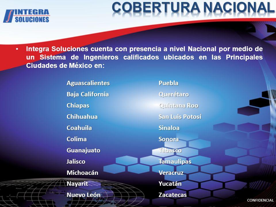 Integra Soluciones cuenta con presencia a nivel Nacional por medio de un Sistema de Ingenieros calificados ubicados en las Principales Ciudades de Méx