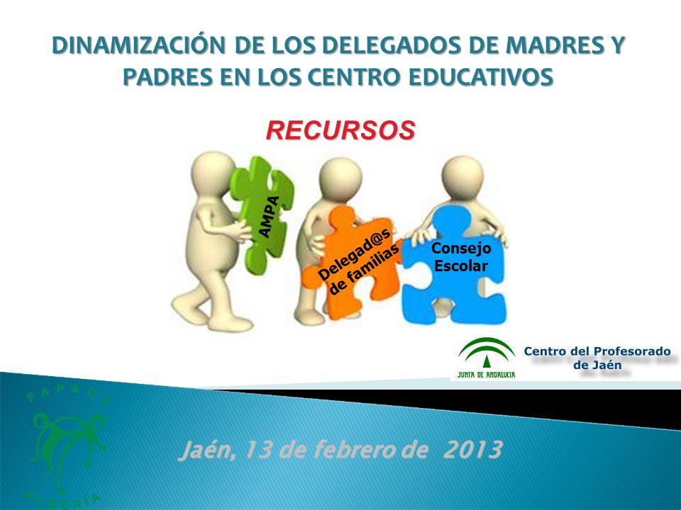 AMPA Delegad@s de familias Consejo Escolar Jaén, 13 de febrero de 2013 RECURSOS DINAMIZACIÓN DE LOS DELEGADOS DE MADRES Y PADRES EN LOS CENTRO EDUCATIVOS