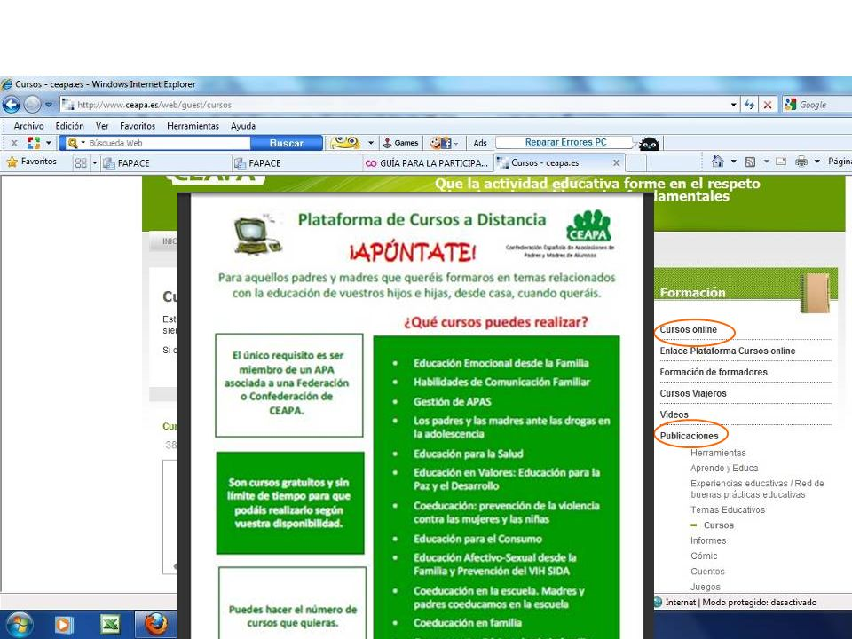 Webs: Ceapa.es Codapa.org Fapacealmeria:.