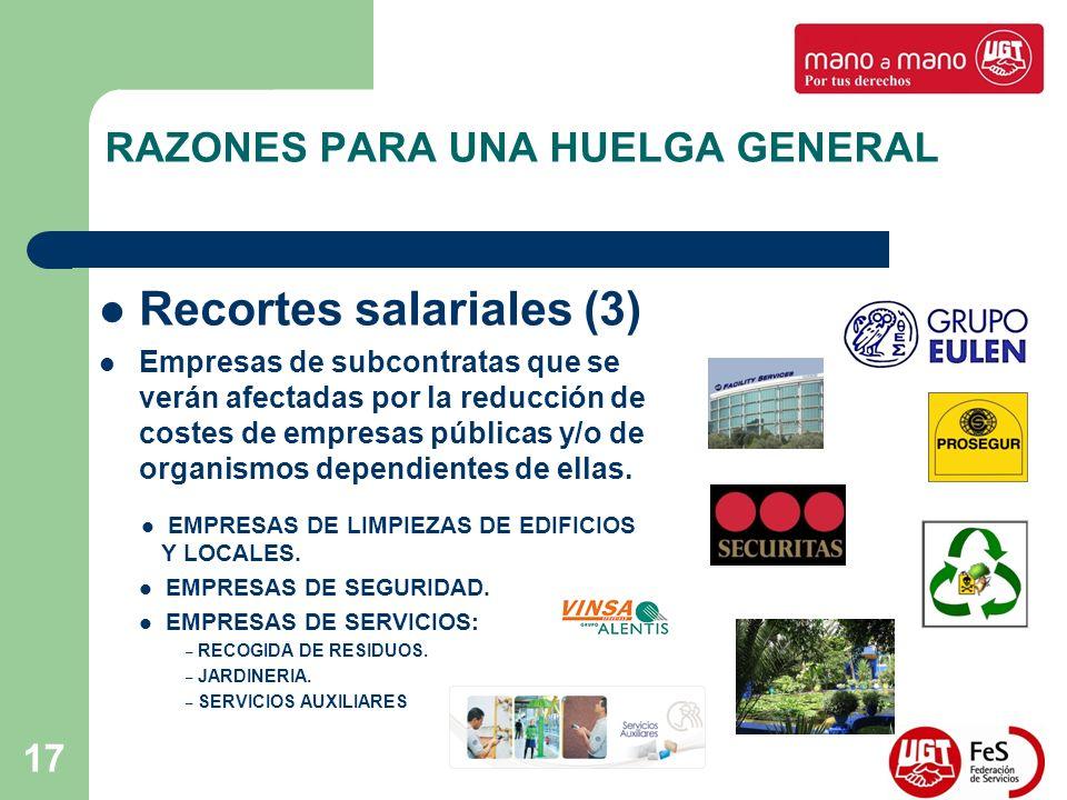 17 RAZONES PARA UNA HUELGA GENERAL Recortes salariales (3) Empresas de subcontratas que se verán afectadas por la reducción de costes de empresas públicas y/o de organismos dependientes de ellas.