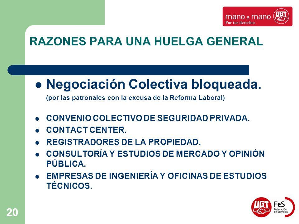 20 RAZONES PARA UNA HUELGA GENERAL Negociación Colectiva bloqueada. (por las patronales con la excusa de la Reforma Laboral) CONVENIO COLECTIVO DE SEG