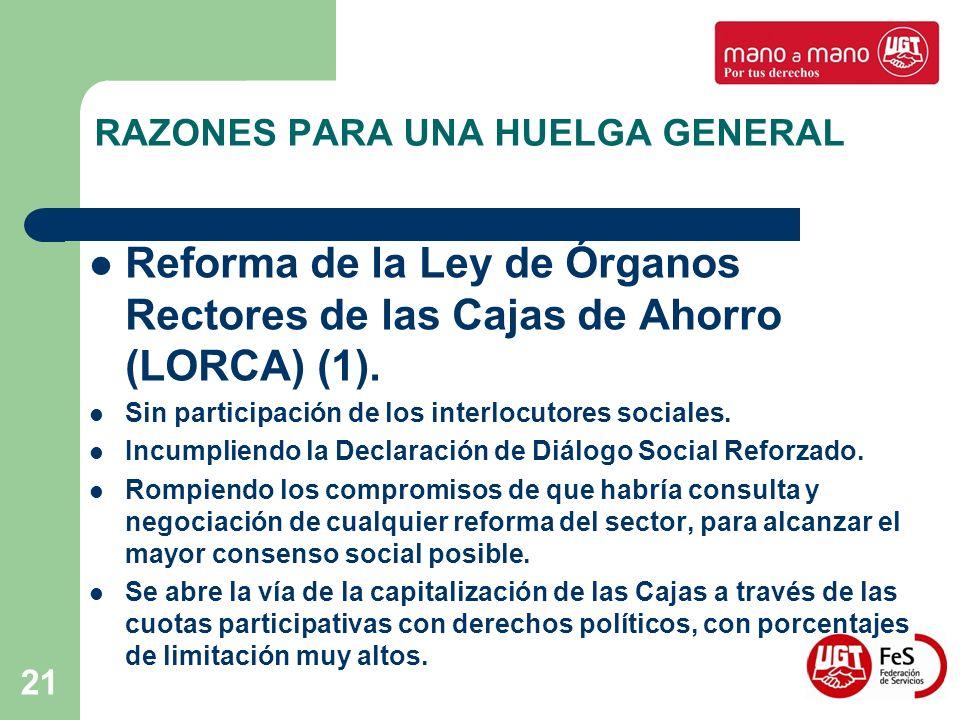 21 RAZONES PARA UNA HUELGA GENERAL Reforma de la Ley de Órganos Rectores de las Cajas de Ahorro (LORCA) (1). Sin participación de los interlocutores s