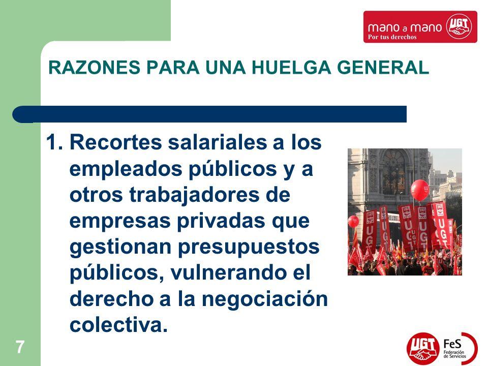 7 RAZONES PARA UNA HUELGA GENERAL 1. Recortes salariales a los empleados públicos y a otros trabajadores de empresas privadas que gestionan presupuest