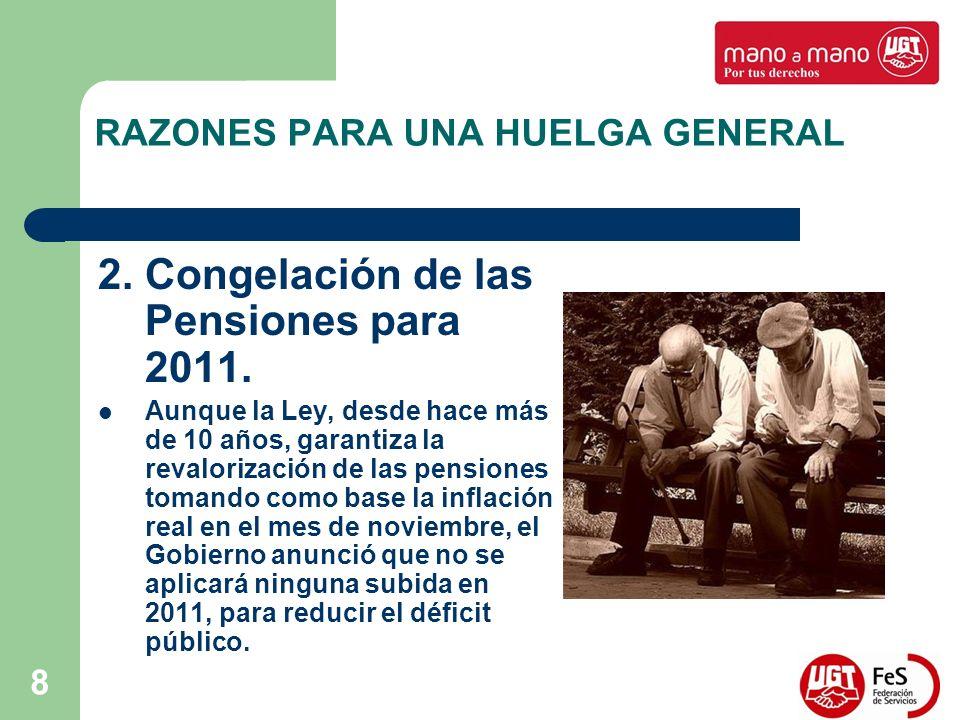 8 RAZONES PARA UNA HUELGA GENERAL 2. Congelación de las Pensiones para 2011. Aunque la Ley, desde hace más de 10 años, garantiza la revalorización de