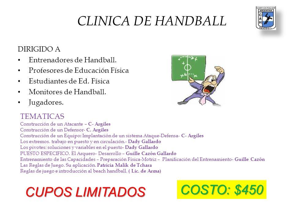 STAFF COORDINADOR GRAL Lic.Santiago Hugo Pecile COORDINADOR CLINICA DE HANDBALL Lic.