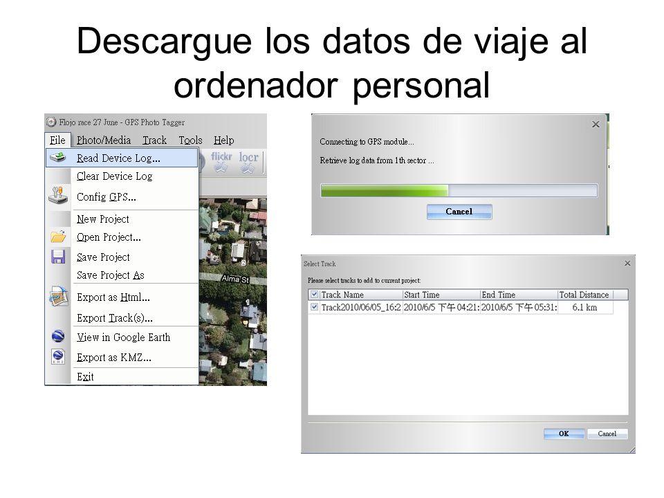 Descargue los datos de viaje al ordenador personal