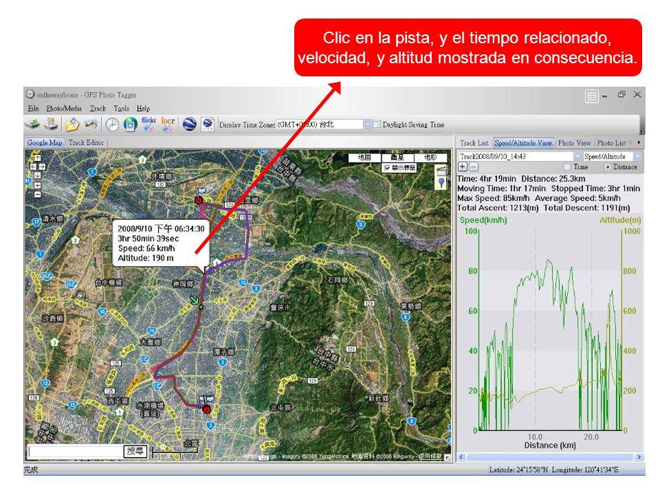 Clic en la pista, y el tiempo relacionado, velocidad, y altitud mostrada en consecuencia.