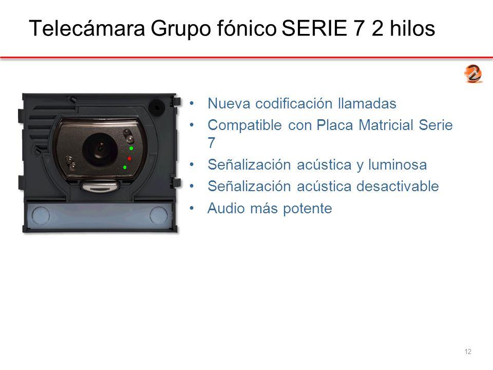 Telecámara Grupo fónico SERIE 7 2 hilos 12 Nueva codificación llamadas Compatible con Placa Matricial Serie 7 Señalización acústica y luminosa Señalización acústica desactivable Audio más potente