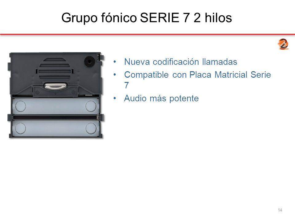 Grupo fónico SERIE 7 2 hilos 14 Nueva codificación llamadas Compatible con Placa Matricial Serie 7 Audio más potente