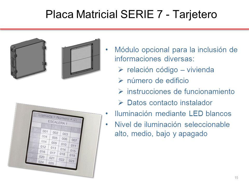 Placa Matricial SERIE 7 - Tarjetero 15 Módulo opcional para la inclusión de informaciones diversas: relación código – vivienda número de edificio instrucciones de funcionamiento Datos contacto instalador Iluminación mediante LED blancos Nivel de iluminación seleccionable alto, medio, bajo y apagado