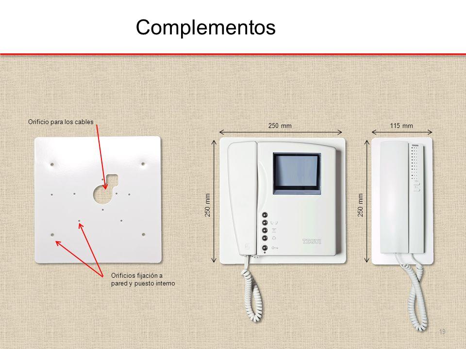 19 Orificios fijación a pared y puesto interno Orificio para los cables 250 mm 115 mm Complementos