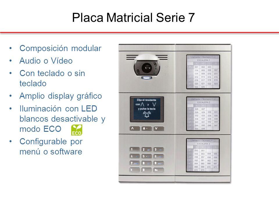 Placa Matricial Serie 7 Composición modular Audio o Vídeo Con teclado o sin teclado Amplio display gráfico Iluminación con LED blancos desactivable y modo ECO Configurable por menú o software