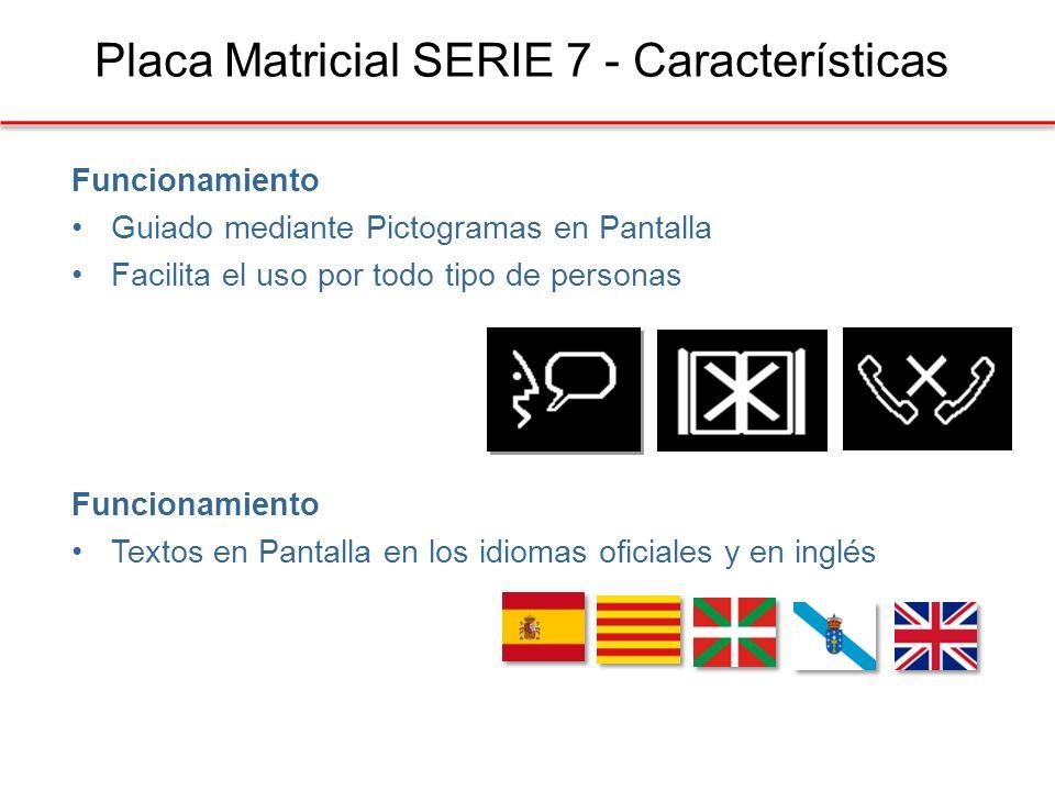 Placa Matricial SERIE 7 - Características Funcionamiento Guiado mediante Pictogramas en Pantalla Facilita el uso por todo tipo de personas Funcionamiento Textos en Pantalla en los idiomas oficiales y en inglés