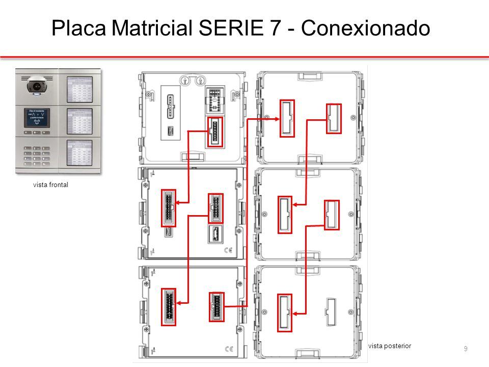 Placa Matricial SERIE 7 - Conexionado 9 vista frontal vista posterior