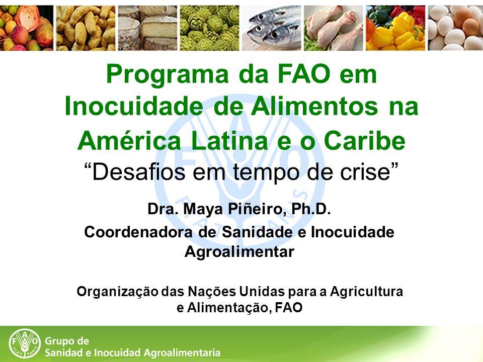 Programa da FAO em Inocuidade de Alimentos na América Latina e o Caribe Desafios em tempo de crise Dra. Maya Piñeiro, Ph.D. Coordenadora de Sanidade e